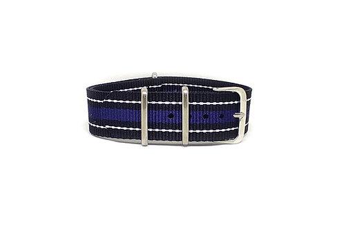 NATO Strap Black - White - Blue