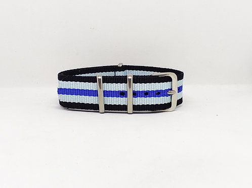 NATO Strap Black-Light Blue-Dark Blue