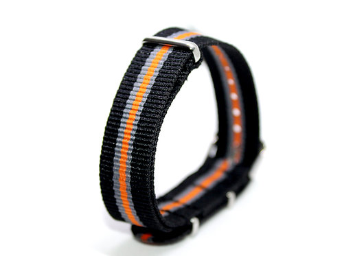 Nato Strap Black-Grey-Orange