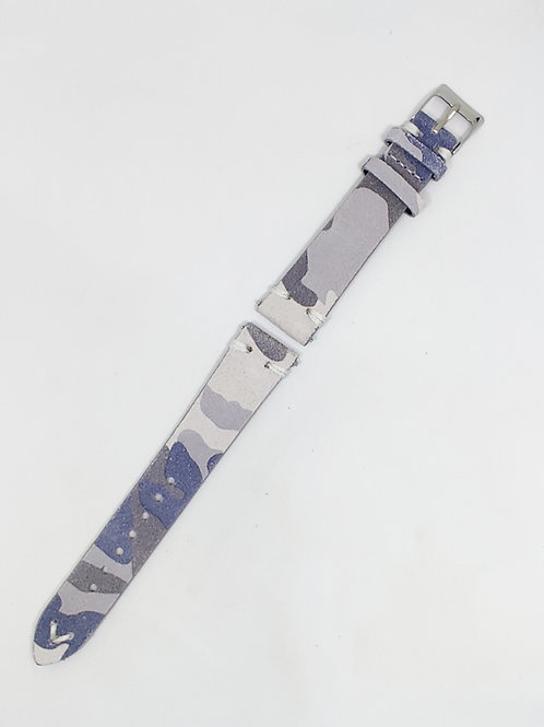Suede Leather Strap Grey Camouflage