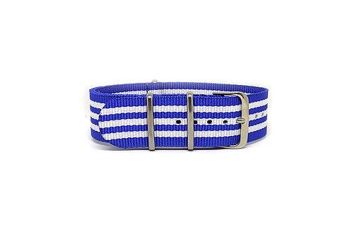 NATO Strap Blue - White