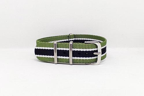 NATO Strap Olive Green-White-Black