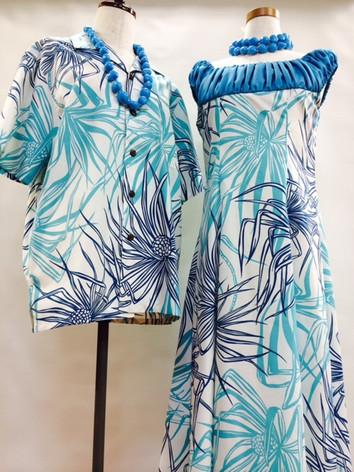 オシャレなパラパライ柄のアロハシャツとドレスです。フルオーダー アロハシャツ サイズオーダー8000円税別 ドレスフルオーダー 20,000円税別