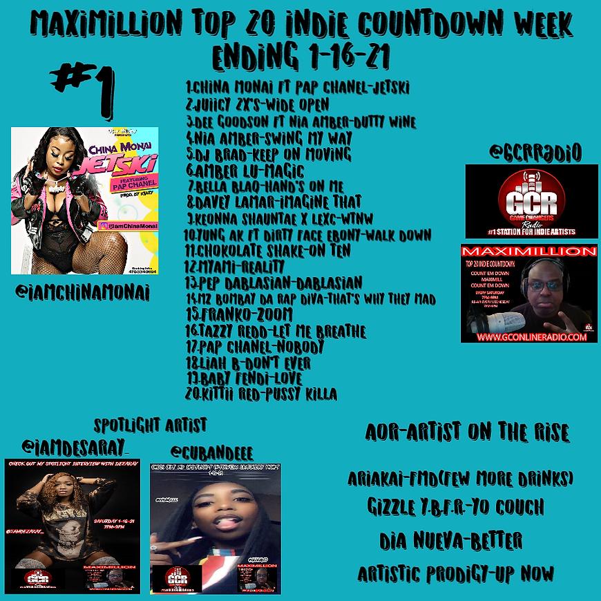 MAXIMILLION TOP 20 COUNTDOWN WEEK ENDING