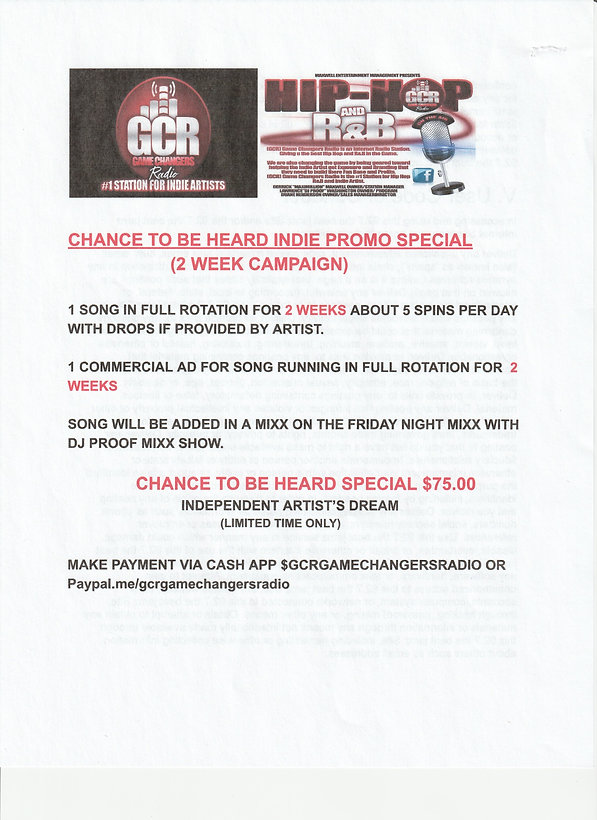 CHANCE TO BE HEARD INDIE PROMO SPECIAL.j