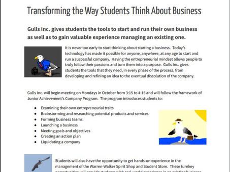 Gulls Inc. Young Entrepreneur Club Takes Off
