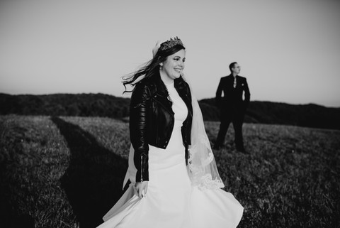 Rock style bride in her dress and leather jacket in Pennsylvania