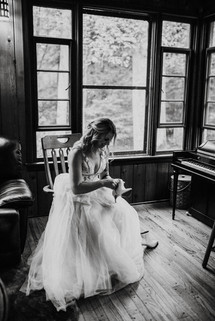Bride gets ready for her ceremony at Fernstone Retreat.