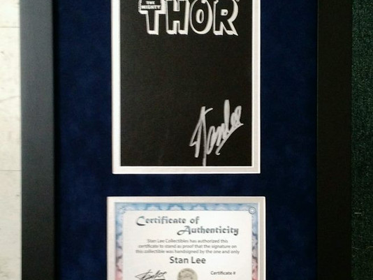 Thor Graphic Novel Signed by Stan Lee and Framed by ECC Frames