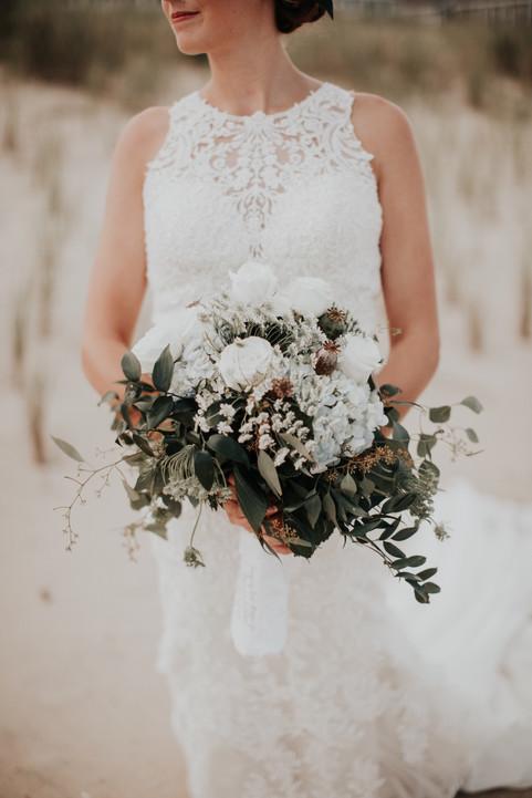 white and eucalyptus bouquet