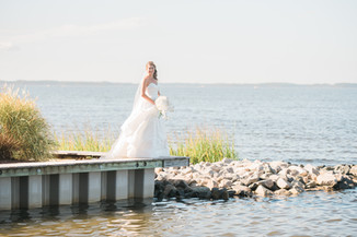 beautiful bride on the dock