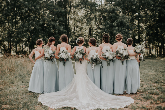 bridesmaids pose