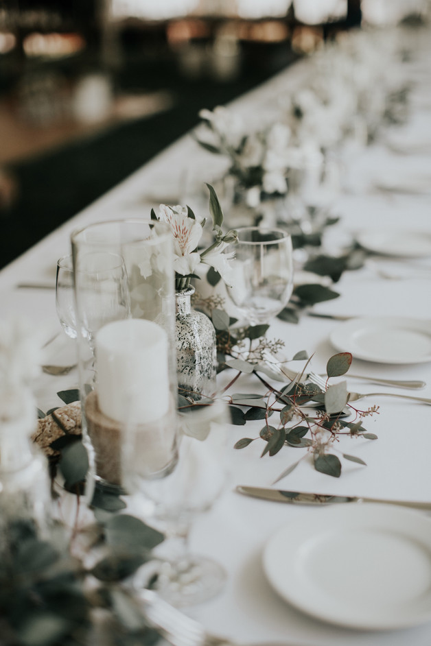 white and eucalyptus table