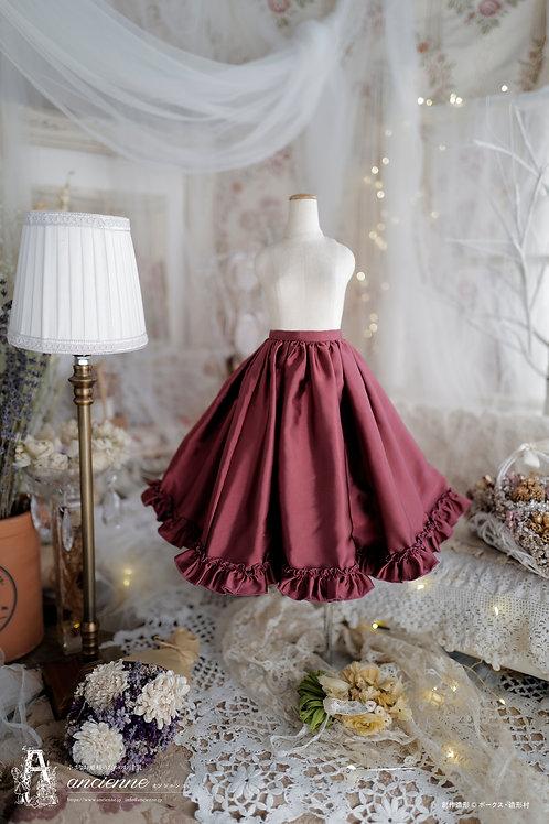[Paulette]シルクタフタスカート フリルあり