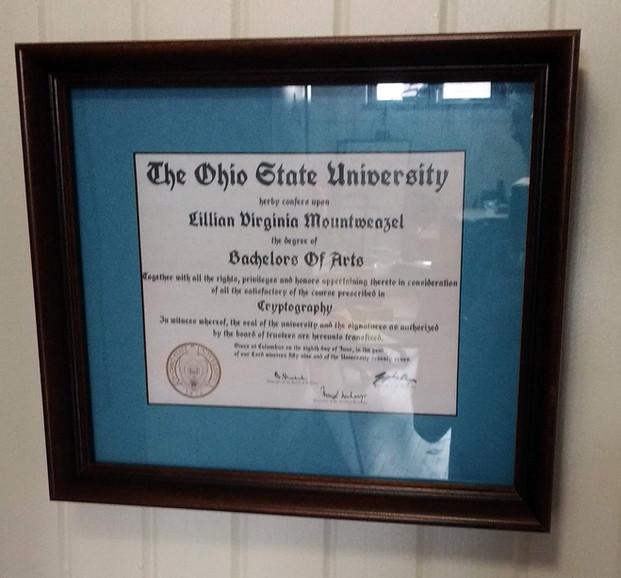 Lillian's OSU Diploma, 1959.