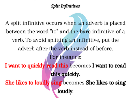 Writer Wednesday: Split Infinitives