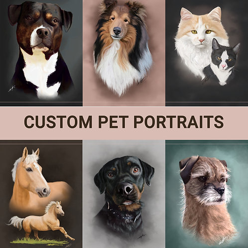 CUSTOM digital pet portrait INFO