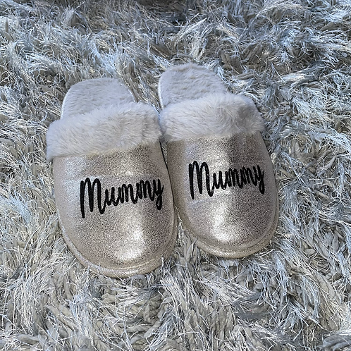 Personalised Silver Slippers
