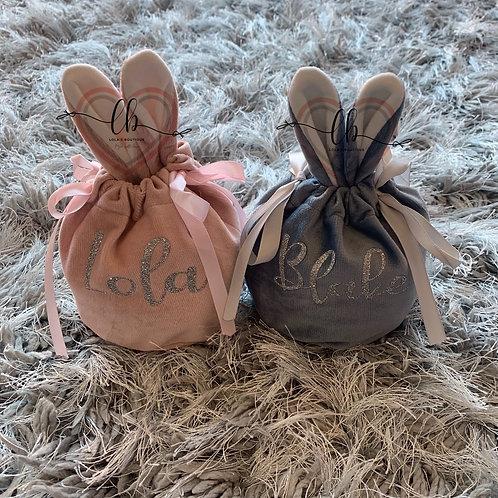 Personalised Velvet Bunny Bags