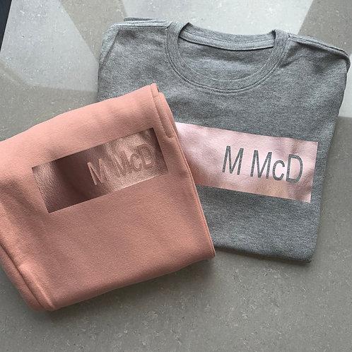 Dusty Pink Name Bar T-Shirt & Jogger Set