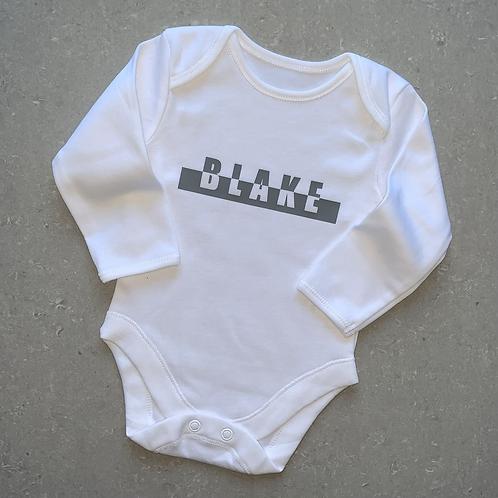 Split Name Bar Baby Vest