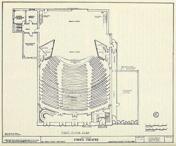 National Park Service floorplan of the Orchestra level (first floor) of Ford's Theatre