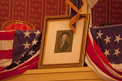 Flags and George Washington on Ford's Theatre Balcony