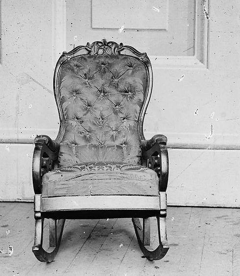 The rocking chair occupied by Abraham Lincoln when assassinated