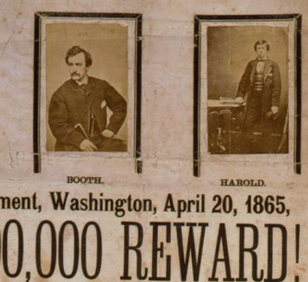 Closeup of the assassination reward poster, David Herold on the right