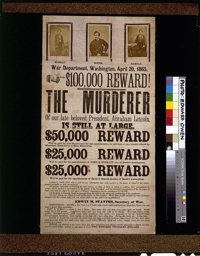 Lincoln Assassination Reward Poster