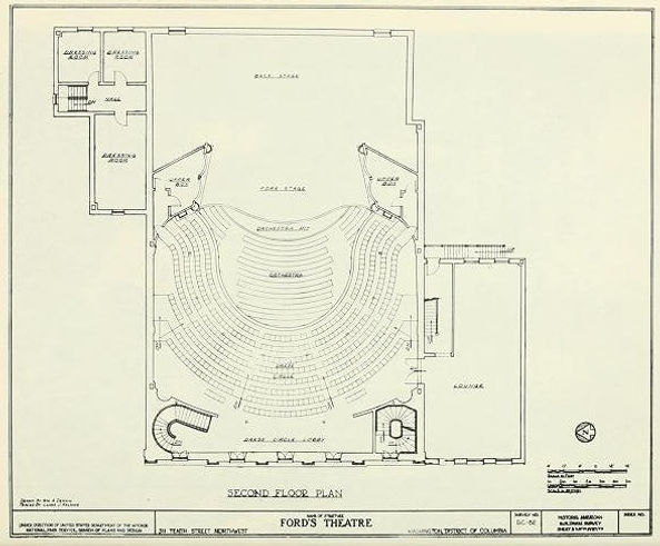 National Park Service floorplan of the Dress Circle level (second floor) of Ford's Theatre