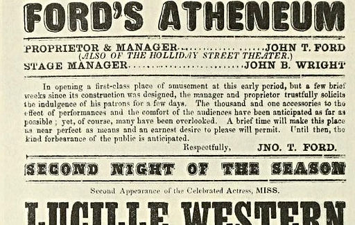 Ford's Theatre advertisement