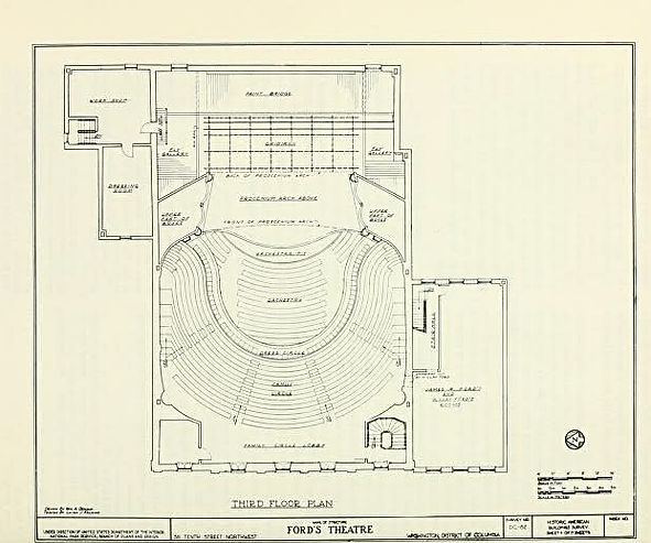 National Park Service floorplan of the Family Circle level (third floor) of Ford's Theatre