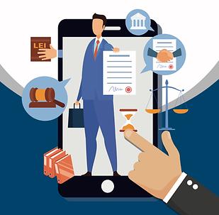 Advogado mostrando opções do juízo 100% digital