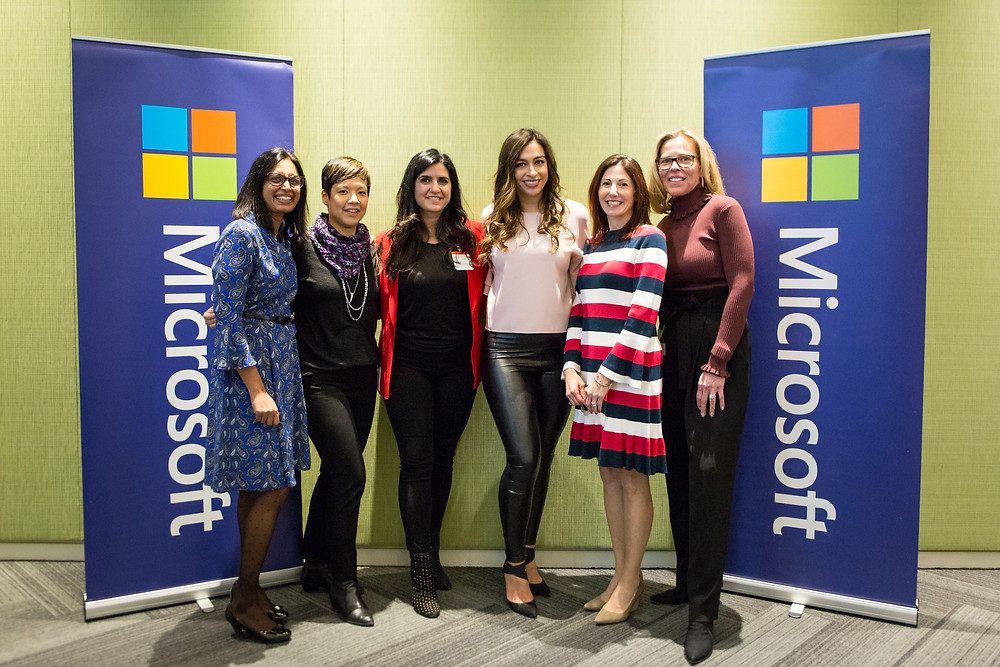 A photo of a group of female empowerment speakers at Microsoft Headquarters in Mississauga, Canada