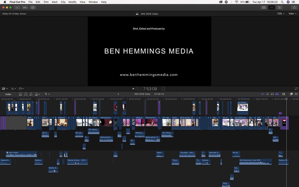 A screenshot showing BEN HEMMINGS MEDIA's workflow on NLE Final Cut Pro