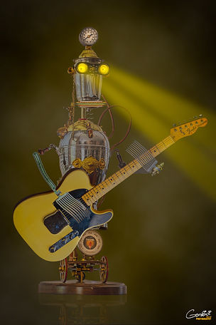 robot, guitar, sculpture.