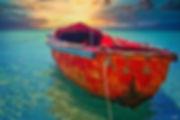 skiff, boat, ocean, sunset, tropical