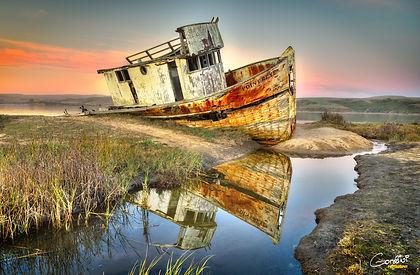 Shipwreck, Sunset, Reflection, Sunset