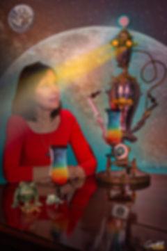 portrait, Lauren Hoffman, Lauren G. Hoffman, bar, robot, piano, coctails, futuristic