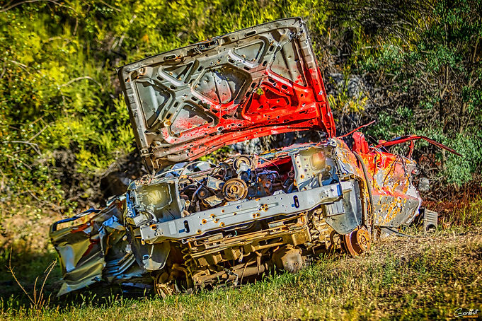 car, wreck, junked, rust, demolished