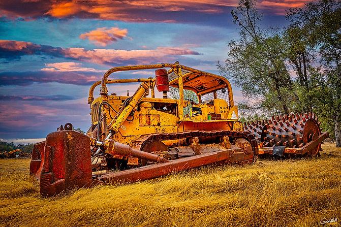 Bulldozer, Sheeps Foot, Tractor, Sunset