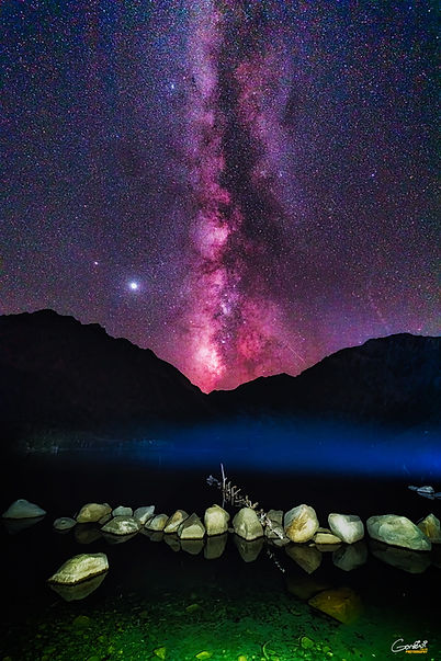Milky Way, Astrophotography, Stars, Mountains. Lake, Light Painting
