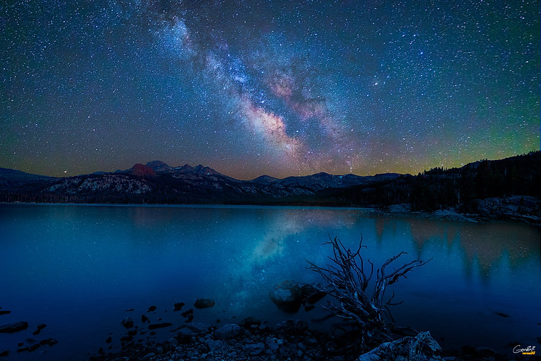 Milky Way, Caples Lake, Astrophotography, Night, Lake, Mountains. Night Sky