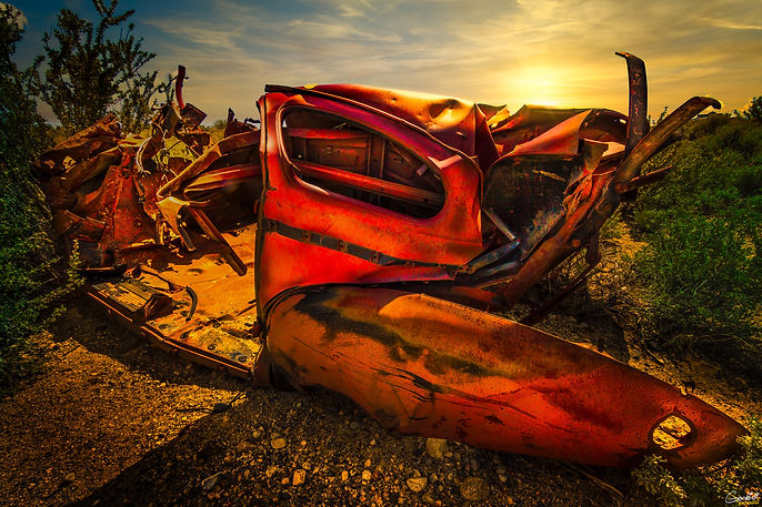 car, wreck, sunset, old, Chevy