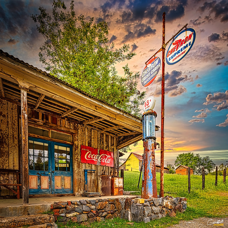 gas  pump, old, old gaspump, gas station, old gas station, sunset, Chevron, Coca-Cola,
