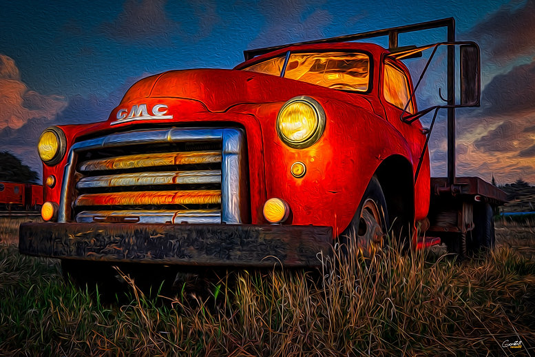 Old Truck, Light Painted. Classic Vehicle