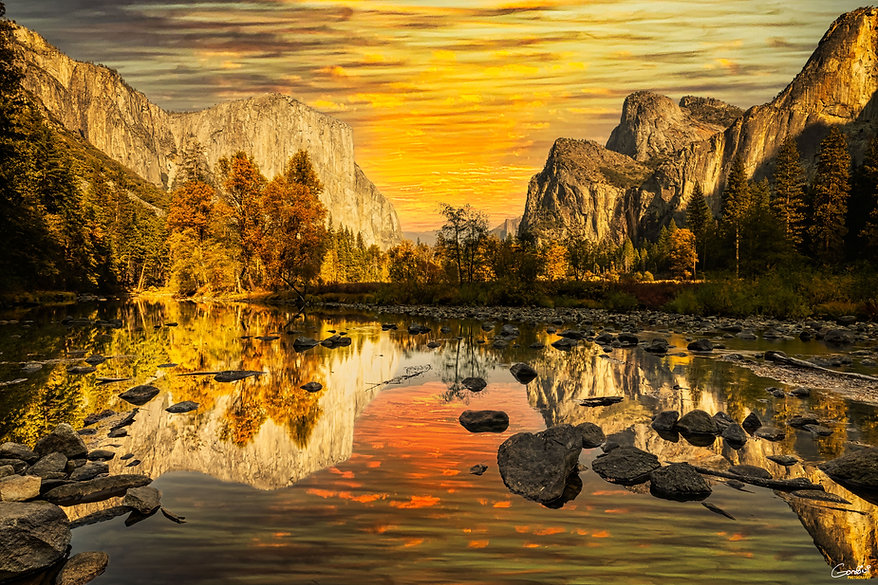 Yosemite, El Capitan, River, Reflection