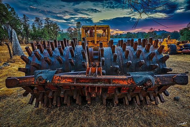 Bulldozer, Sheeps Foot, Sunset