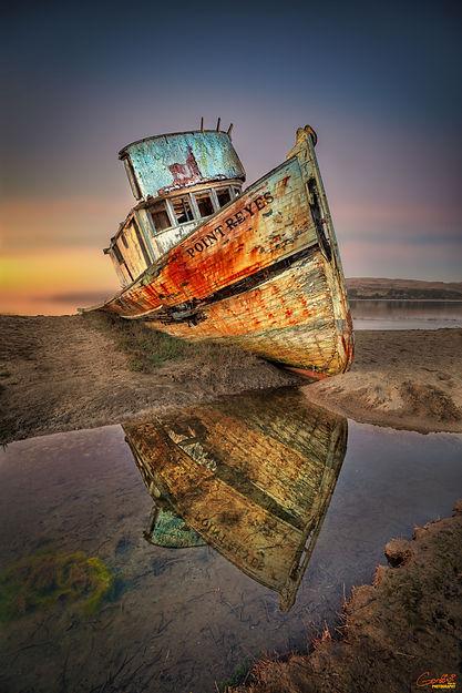 Shipwreck, Fishing Boat, Sunset, Reflection